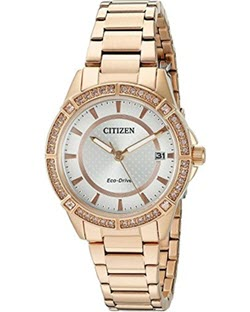 Drive From Citizen Eco-Drive Women's Quartz Stainless Steel Casual Watch, Color: Rose Gold-Toned