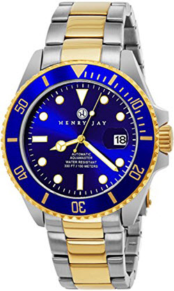 Henry Jay Mens Two Tone Stainless Steel Specialty Aquamaster Professional Dive Watch