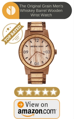 The Original Grain Men's Whiskey Barrel Wooden Wrist Watch