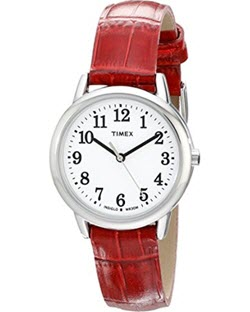 Timex Women's Easy Reader Silver-Tone Watch with Red Leather Band