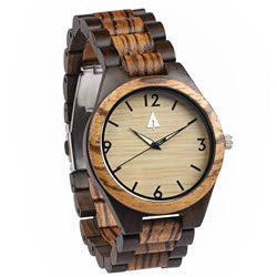 Treehut Zebrawood and Ebony Wooden Men's Watch - Tri-Fold Clasp - Stainless Steel Buckle